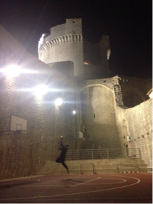 playing basketball in Dubrovnik